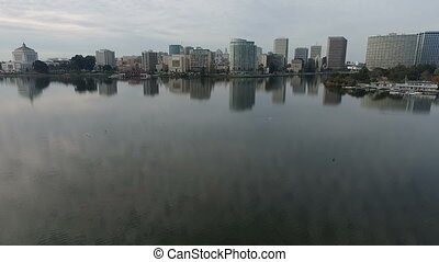 Oakland California Downtown City Skyline Lake Merritt San...