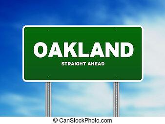 Oakland, California Highway Sign - Green Oakland,...