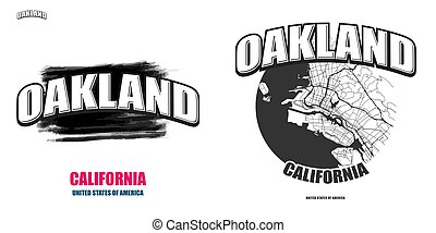 Oakland, California, two logo artworks
