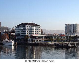 oakland, porto, terminal balsa, cais, e, branca, bote