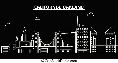 Oakland silhouette skyline. USA - Oakland vector city, american linear architecture, buildings. Oakland travel illustration, outline landmarks. USA flat icons, american line banner