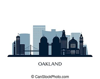 Oakland skyline, monochrome silhouette.