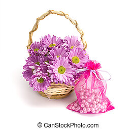 Oaklets in a basket and a sack with pearls