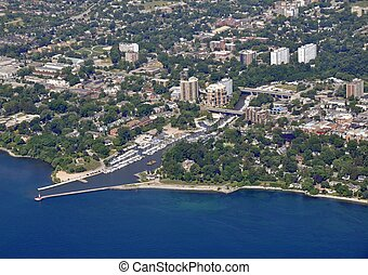 Oakville Ontario aerial - aerial view of small lake harbour...