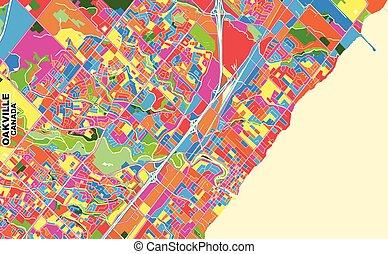 Oakville, Ontario, Canada, colorful vector map