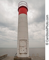 Oakville Ontario Lighthouse - Red and white lighthouse on...