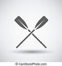 Oars Icon - Fishing icon with boat oars over gray...