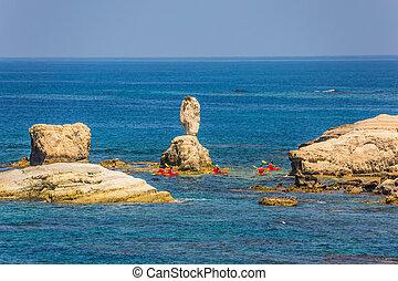 oarsmen, grupo, rojo, canoa