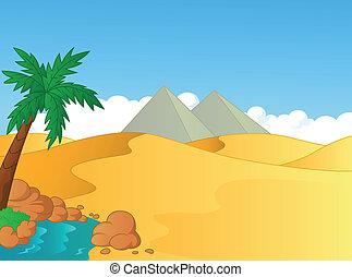 oasi, cartone animato, deserto, piccolo