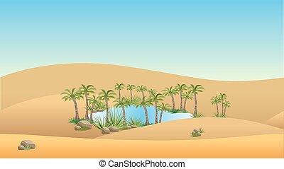 oasi, deserto, fondo, -, paesaggio, vettore