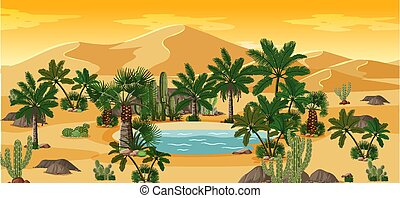 oasi, scena, cactus, deserto, paesaggio natura, palme