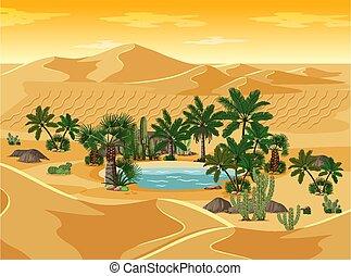 oasi, scena, deserto, paesaggio natura, palme