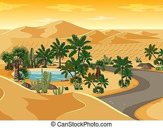 oasi, scena, deserto, strada lunga, paesaggio