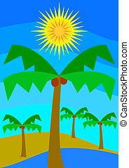 Oasis - Desert oasis whit palms under the sun