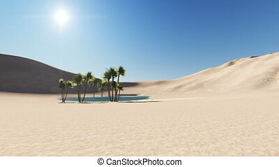 oasis in a desert, dark blue clear water surrounded by palm trees and sand dunes in the background