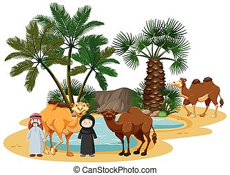 Oasis in desert with camel and nature elements on white background