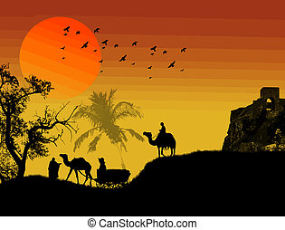 Oasis in sahara desert with carriage, camel and bedouin on arabian sunset