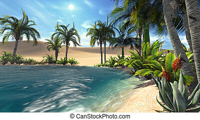 Oasis in the desert 1 - Oasis in the desert. Realistic...