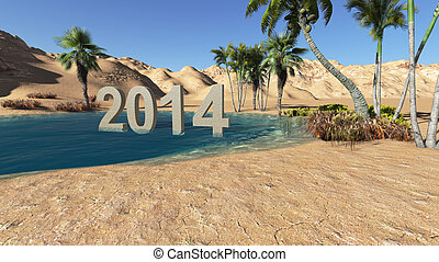 Oasis in the desert 2014 summer made in 3 d software