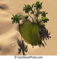 Oasis in the desert made in 3d software