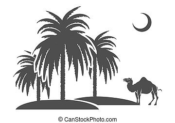 Palm trees and camel silhouettes