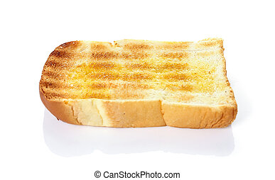 oasted bread slices for breakfast isolated on white background.