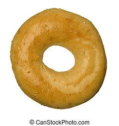 Oat bran bagel against white