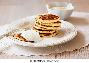 Oat Bran Pancake with yogurt