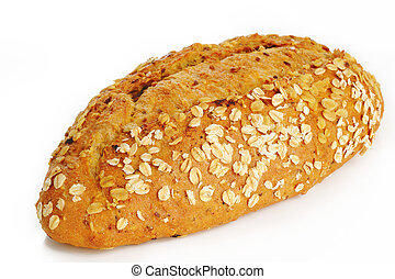 Oat bread on white background
