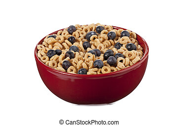 Oat cereal with blueberries on a red bowl and white background