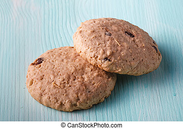 Oat cookies on wood table