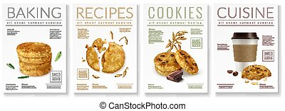 Oat Cookies Poster Set - Set of four realistic posters on...