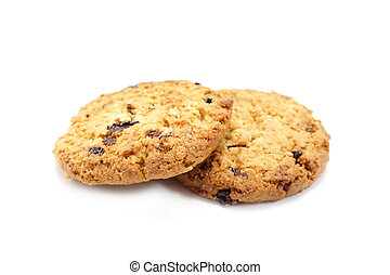 Oat cookies raisins with wholegrain oats no artificial flavors on a white background.