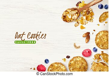 Oat Cookies Realistic Background - Oatmeal cookies realistic...