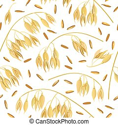 Oat ears of grain and bran. seamless pattern vector. Golden...
