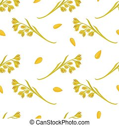 Oat ears of grain vector seamless pattern on white...