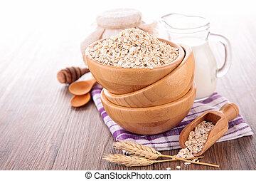 oat flake, bowl of cereals