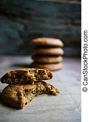 Oat flake cookies on the old wooden table