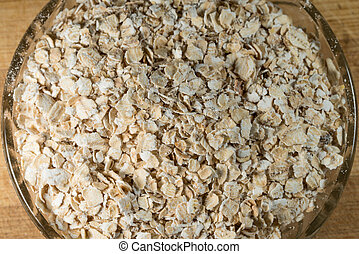 Oat Flake In A Glass Bowl