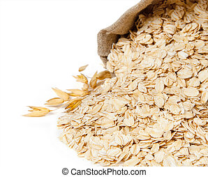 Oat flake isolated on white background