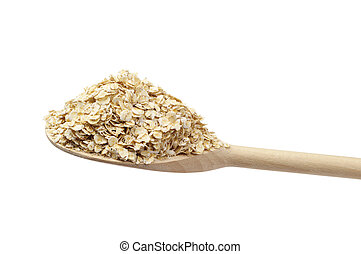 Oat flake on the wooden spoon isolated on white