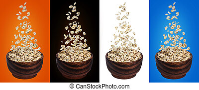 Oat flakes falling in bowl, isolated on white, black, color backgrounds, flying oats packaging concept, oatmeal grains