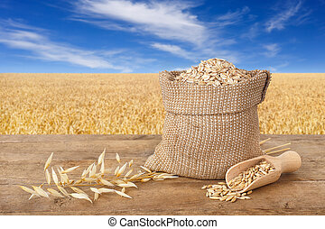 oat flakes in bag on nature background