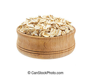 Oat flakes in bowl isolated on white background
