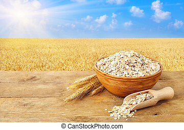 Oat flakes in bowl on nature background