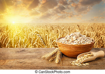 oat flakes in bowl on table