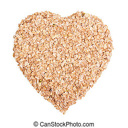 Oat flakes in heart shape isolated on white background.