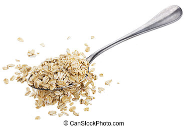 Oat flakes in spoon isolated on white background