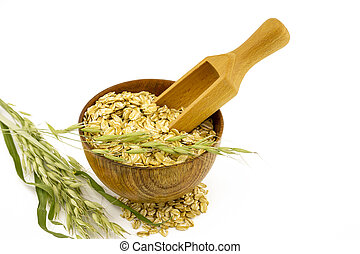 Oat flakes in the bowl, wooden scoop branch