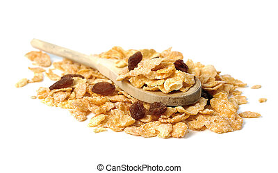 Oat flakes in the wooden spoon on white background...